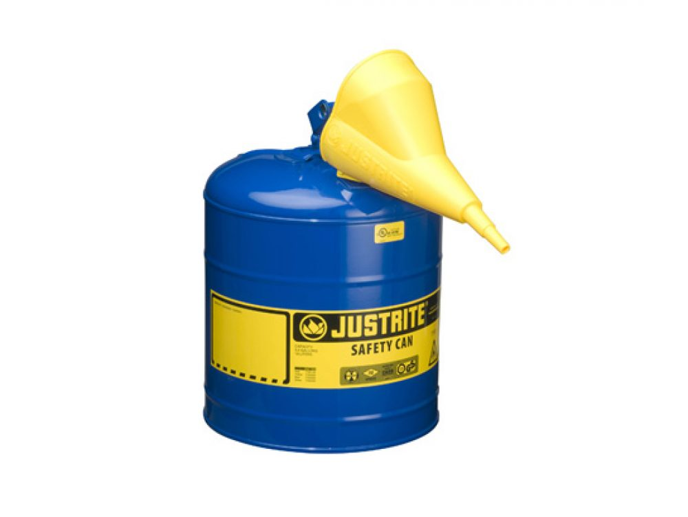 TYPE I STEEL SAFETY CAN FOR FLAMMABLES, WITH FUNNEL, 5 GALLON (19L), S_S FLAME ARRESTER, SELF-CLOSE LID BLUE