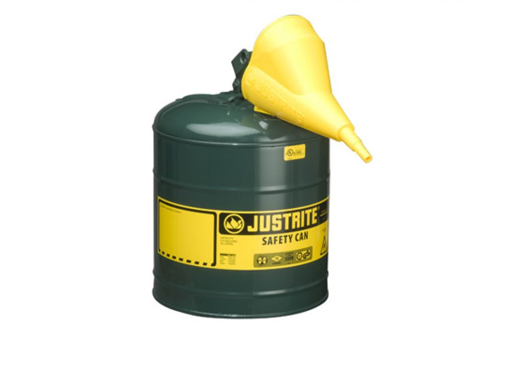 TYPE I STEEL SAFETY CAN FOR FLAMMABLES, WITH FUNNEL, 5 GALLON (19L), S_S FLAME ARRESTER, SELF-CLOSE LID GREEN