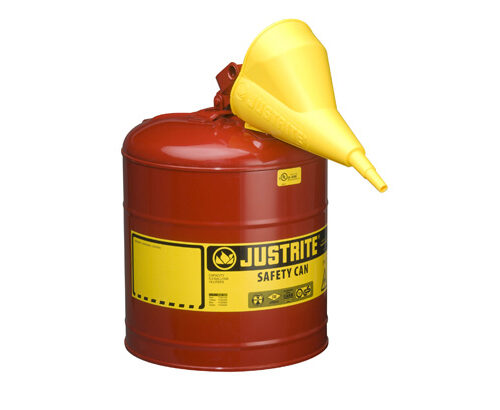 TYPE I STEEL SAFETY CAN FOR FLAMMABLES, WITH FUNNEL, 5 GALLON (19L), S_S FLAME ARRESTER, SELF-CLOSE LID RED