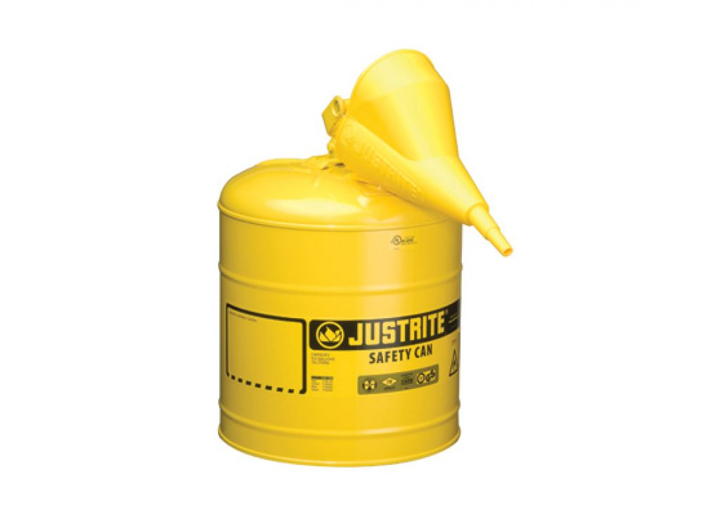 TYPE I STEEL SAFETY CAN FOR FLAMMABLES, WITH FUNNEL, 5 GALLON (19L), S_S FLAME ARRESTER, SELF-CLOSE LID YELLOW