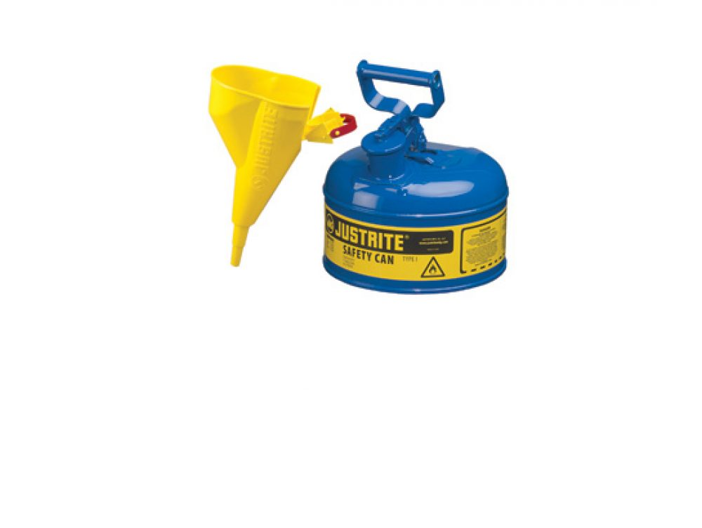 Type I Steel Safety Can for flammables, with Funnel, 1 gallon (4L), S_S flame arrester, self-close lid BLUE