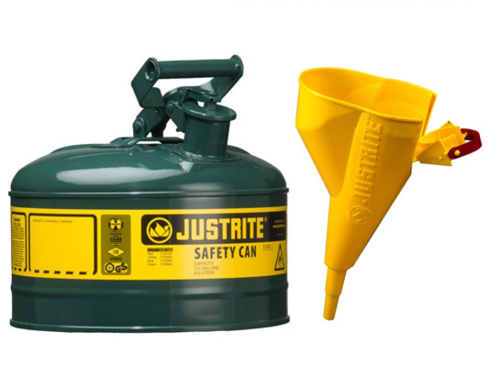 Type I Steel Safety Can for flammables, with Funnel, 1 gallon (4L), S_S flame arrester, self-close lid GREEN
