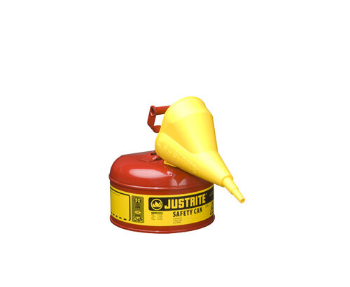 Type I Steel Safety Can for flammables, with Funnel, 1 gallon (4L), S_S flame arrester, self-close lid RED
