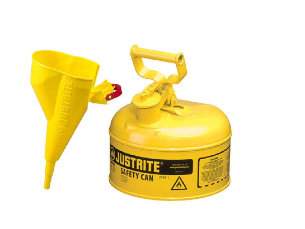 Type I Steel Safety Can for flammables, with Funnel, 1 gallon (4L), S_S flame arrester, self-close lid YELLOW